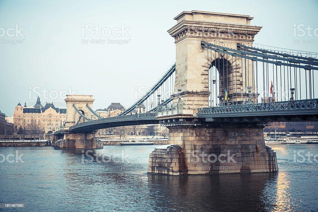 Chain Bridge in Budapest at Dusk stock photo