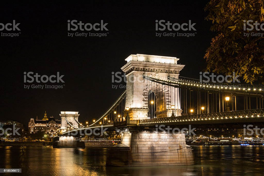 Chain Bridge in budapest Hungary at night time stock photo
