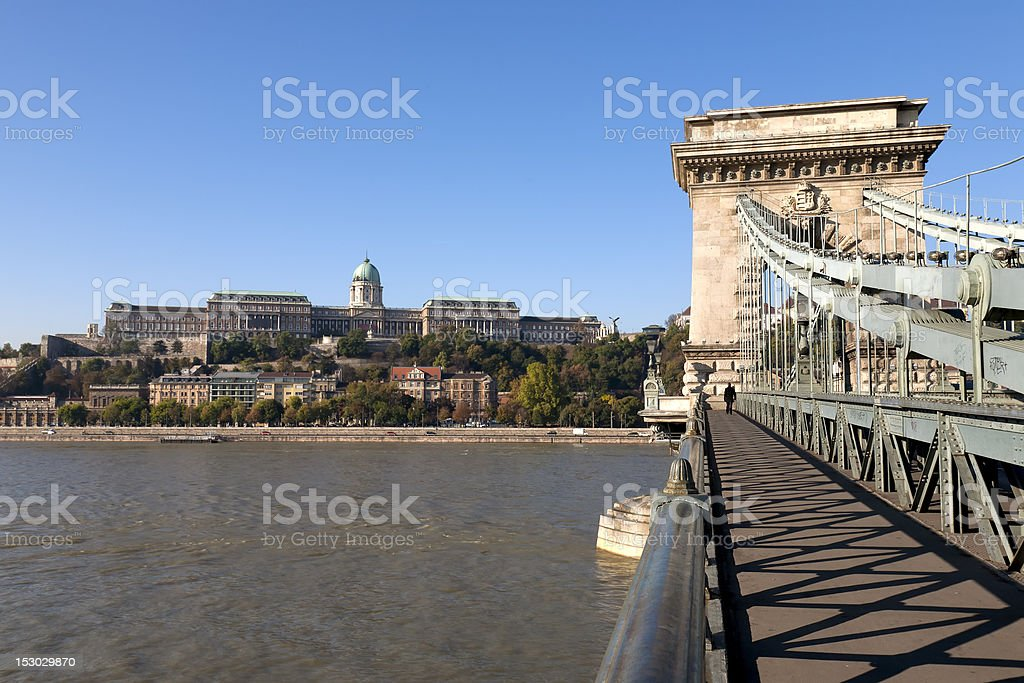 Chain Bridge in Budapest with Buda Castle royalty-free stock photo