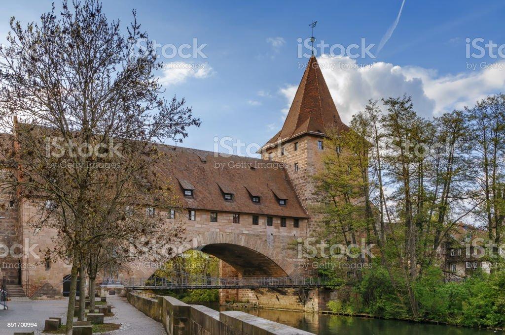 Chain Bridge, Nuremberg, Germany stock photo