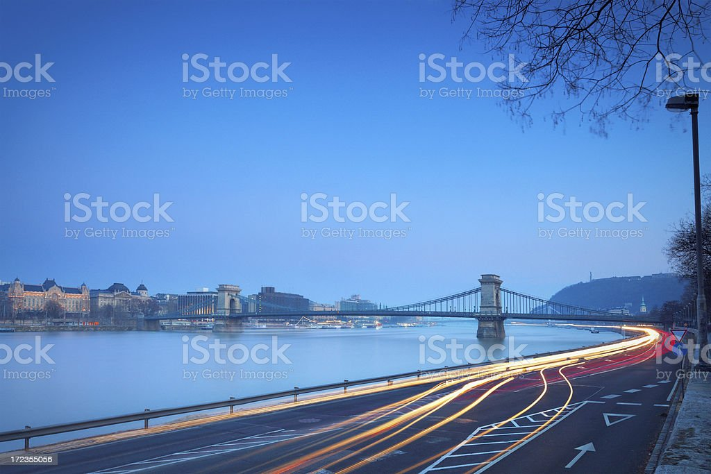 Chain Bridge of Budapest in the evening royalty-free stock photo