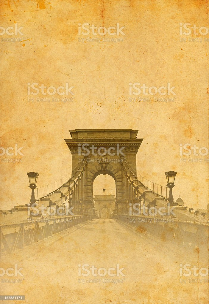 Chain Bridge of Budapest on old photo royalty-free stock photo