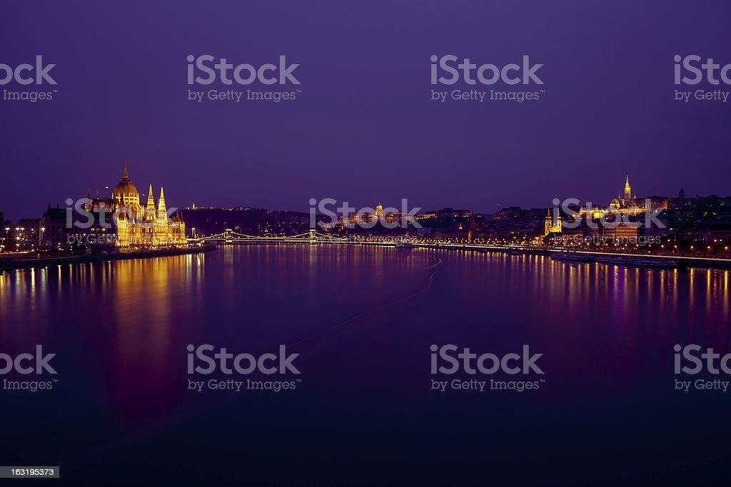Chain bridge on Danube river in Budapest royalty-free stock photo