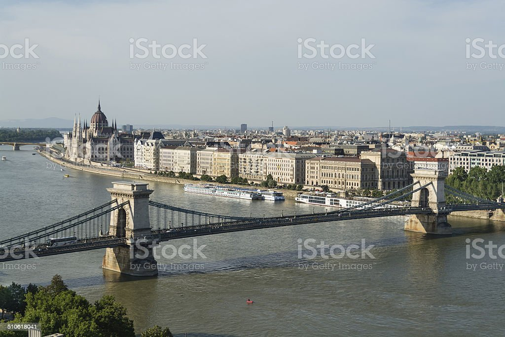 Ponte Chain sobre Danúbio - foto de acervo