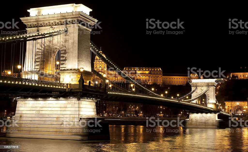 Chain Bridge over the river Danube at night royalty-free stock photo