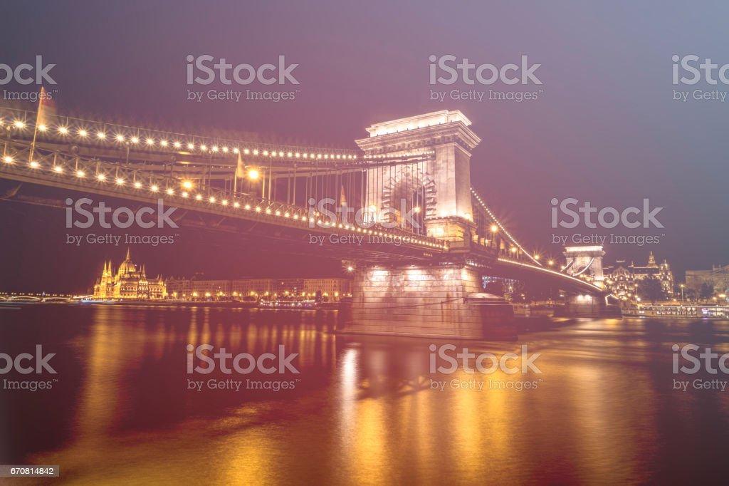 chain bridge parliament night light budapest low angle hungary stock photo