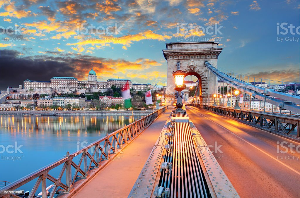 Chain Bridge, Royal Palace and the Danube River in Budapest stock photo