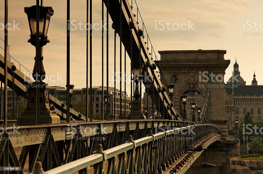 Chain Bridge. Sepia Toned royalty-free stock photo