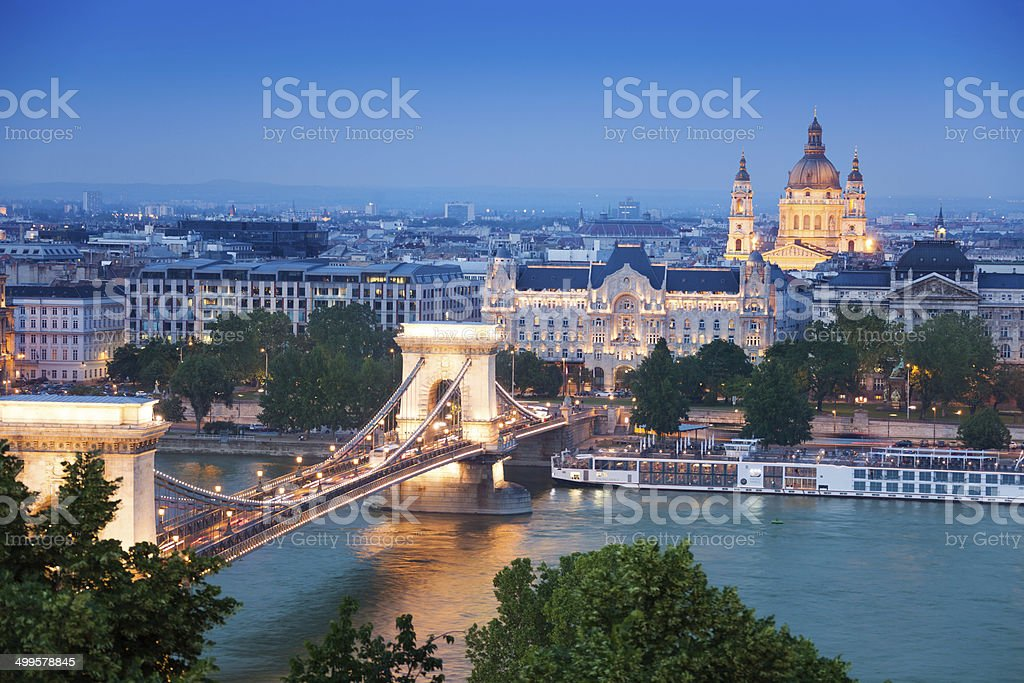 Chain Bridge, St. Stephen's Basilica in Budapest stock photo