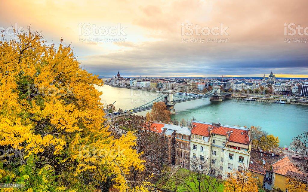 Chain Bridge with Hungarian Parliament, Budapest. stock photo