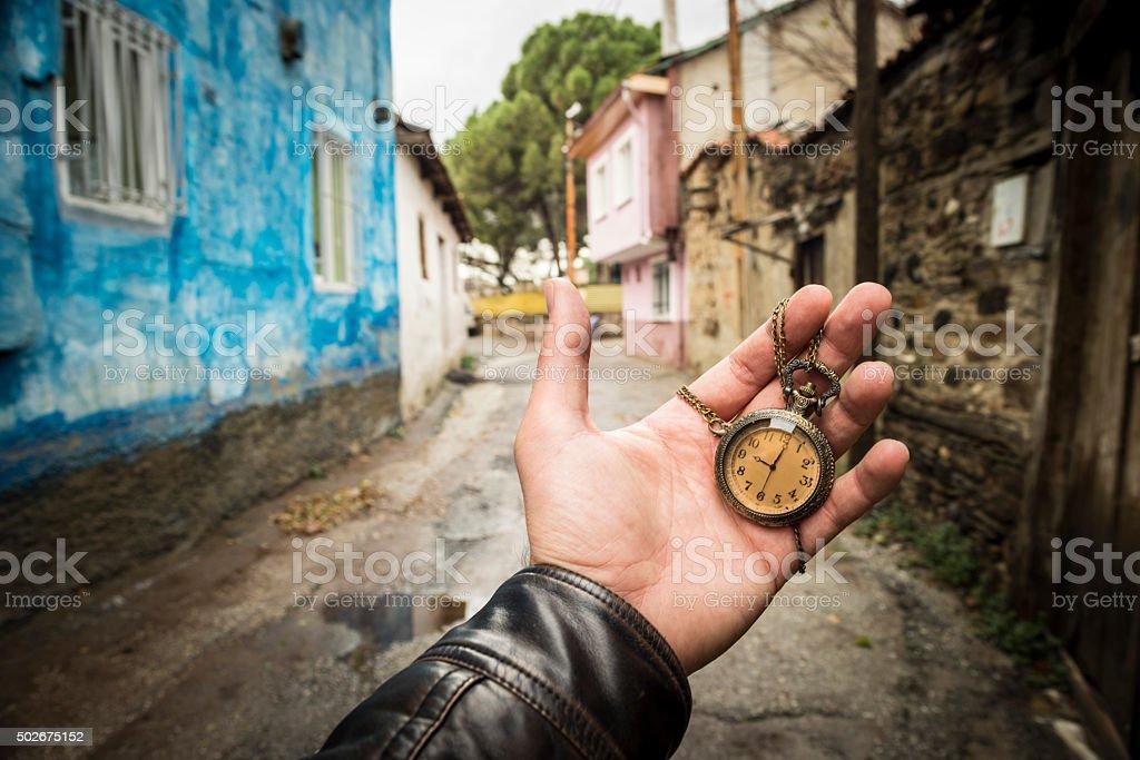 Chain clock stock photo