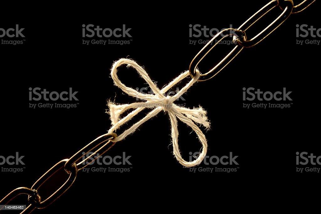 Chain debilitated with a cord stock photo