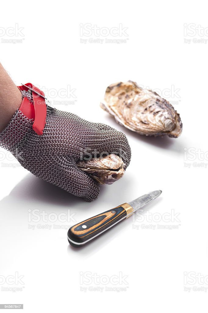 Chain Gloves specially for opening of oysters stock photo
