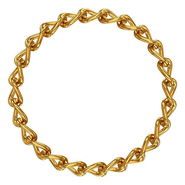 chain in shape of circle - chain object stock photos and pictures