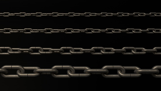 Chain Isolated on black Background With Clipping Path