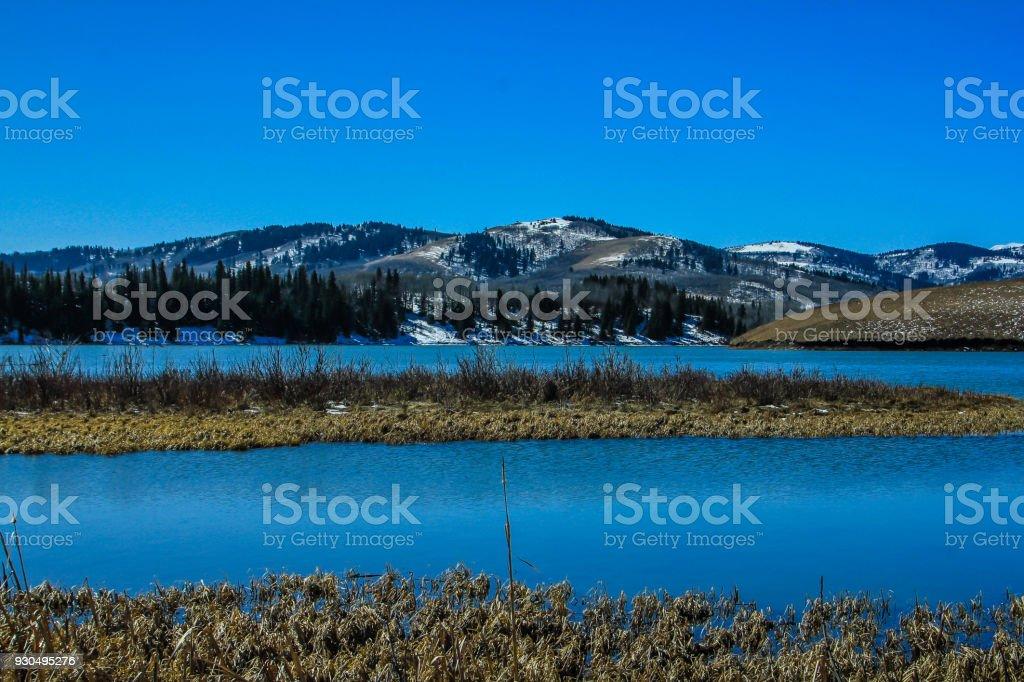 Chain Lake, Chain Lakes Provincial Park, Alberta, Canada stock photo