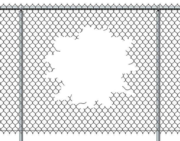clôture chain link trou - grillage photos et images de collection