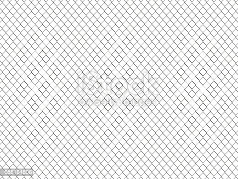 Chain link fence pattern. Industrial style wallpaper. Realistic geometric texture. Graphic design element for corporate identity, web sites, catalog. Steel wire wall isolated on white. 3D illustration.