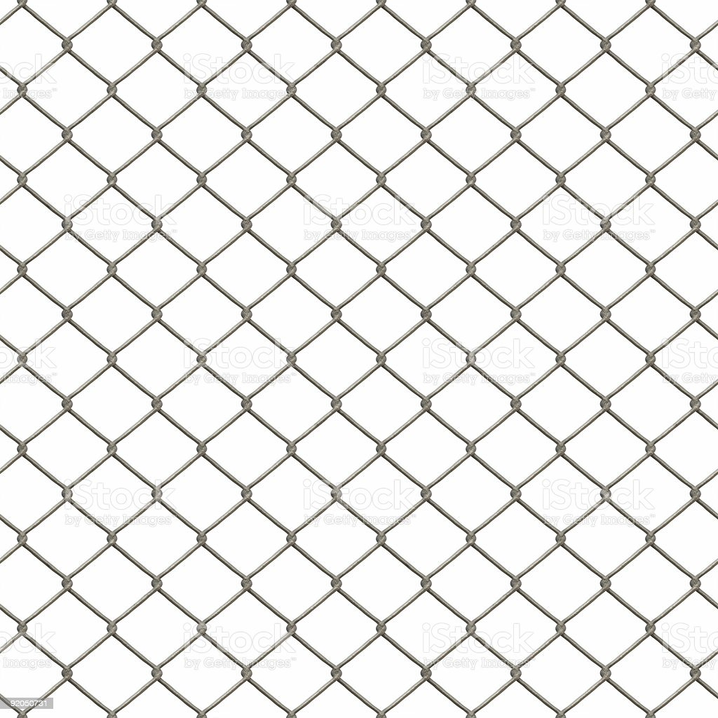 A chain link fence pattern on a white background stock photo
