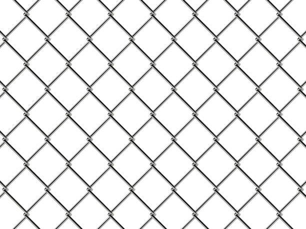 Chain link fence pattern. Realistic geometric texture stock photo