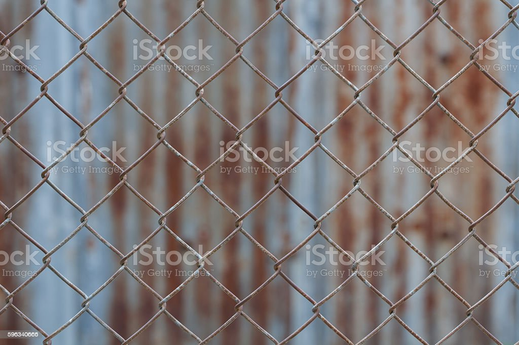 Chain link fence,Rusty wire fence royalty-free stock photo
