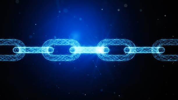 Chain Link Made Of Plexus Over Dark Blue Background - Blockchain Concept stock photo