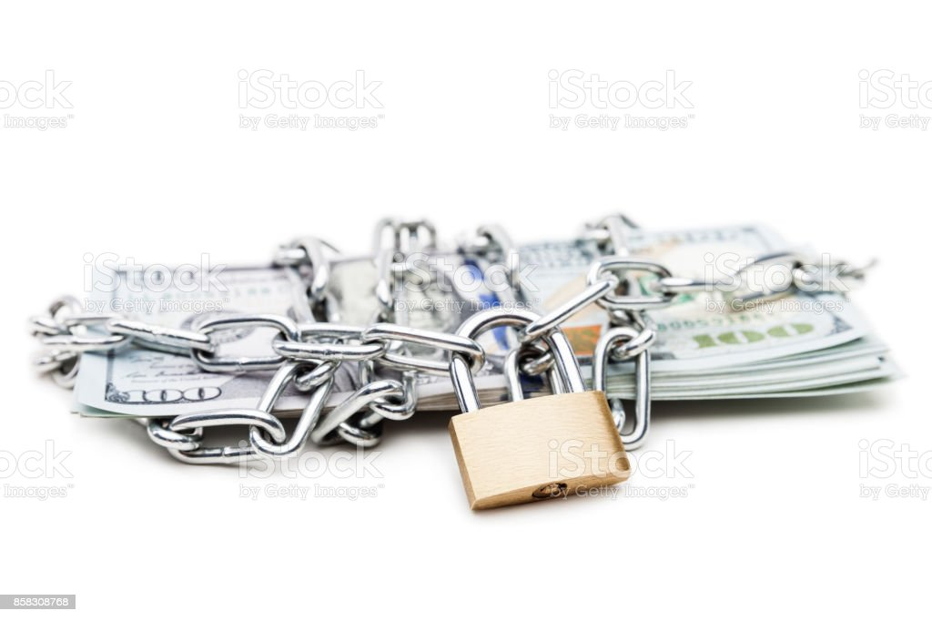 Chain Link With Padlock On Dollar Currency Money Stock Photo & More