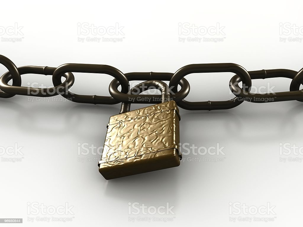 Chain links and lock for strength & security royalty-free stock photo