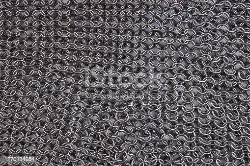 chain mail close up texture background. abstract iron ring backdrop. protection concept.
