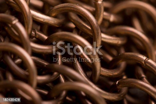 Close up of copper chain mail links