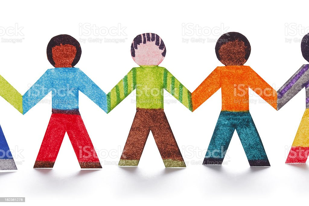 Chain of colorful paper people royalty-free stock photo