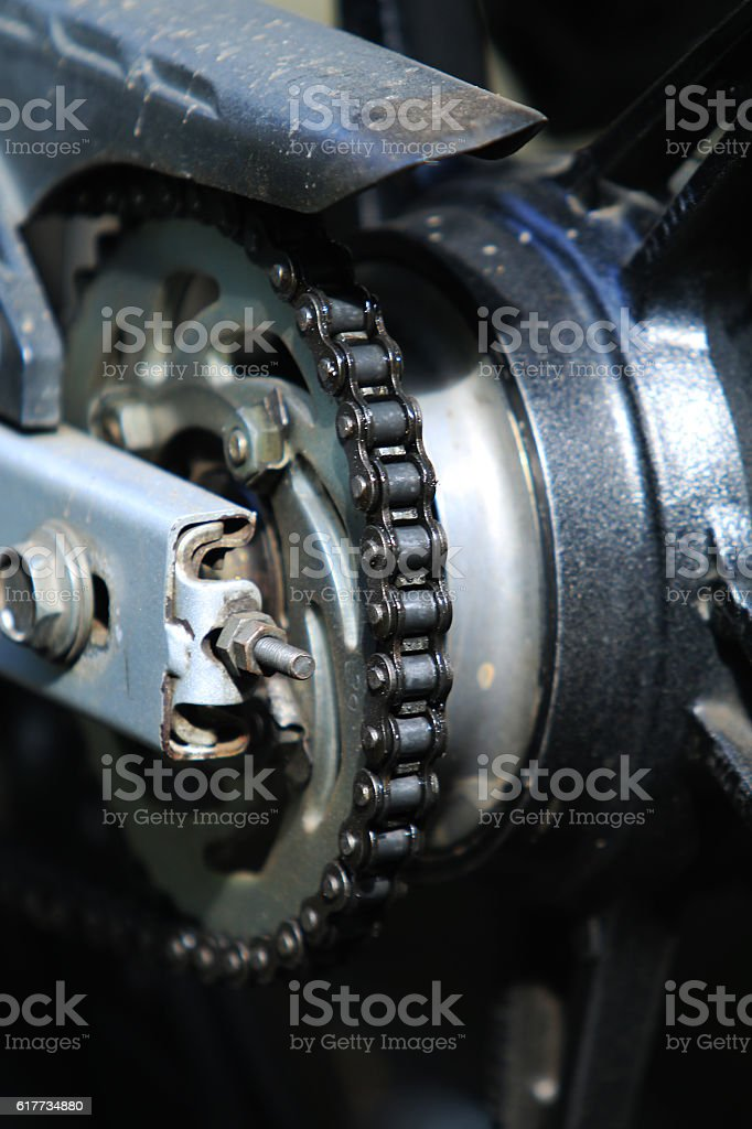 Chain of motorcycle stock photo