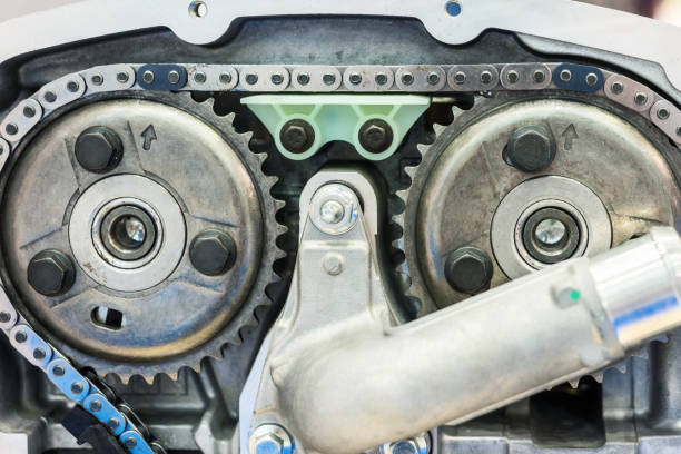 Chain of timing and two sprockets of camshafts stock photo