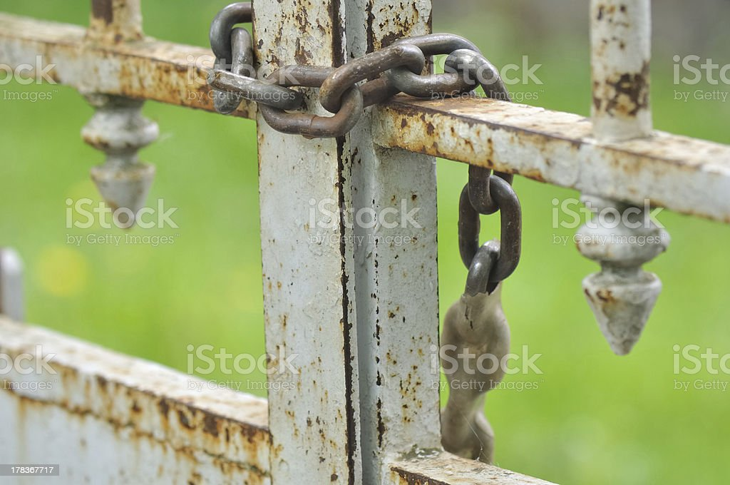 chain on old gate stock photo