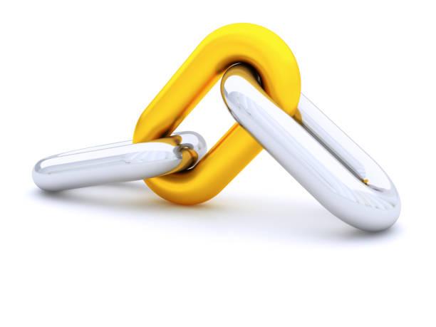 chain on white - anello catena foto e immagini stock