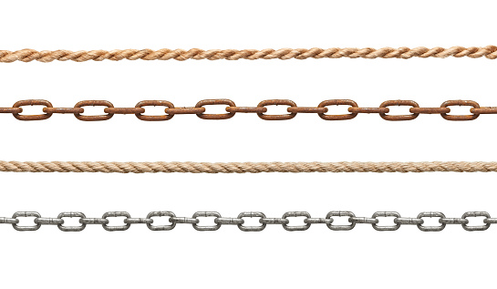 collection of  chains and ropes on white background. each one is in full cameras resolutioncollection of  chains and ropes on white background. each one is in full cameras resolution