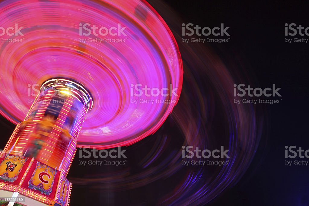 Chain Swing Ride At Night royalty-free stock photo