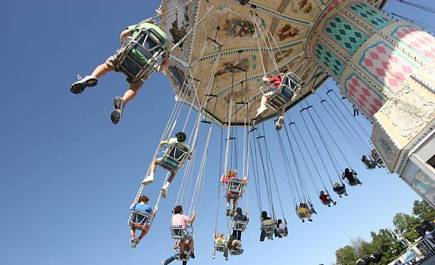 Chain swing ride carousel stock photo