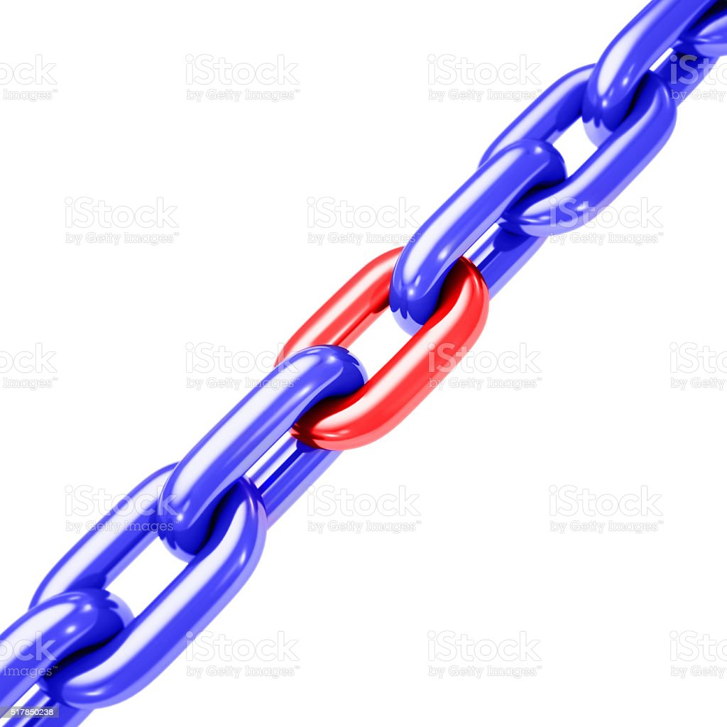 Chain Tension on White Diagonal stock photo