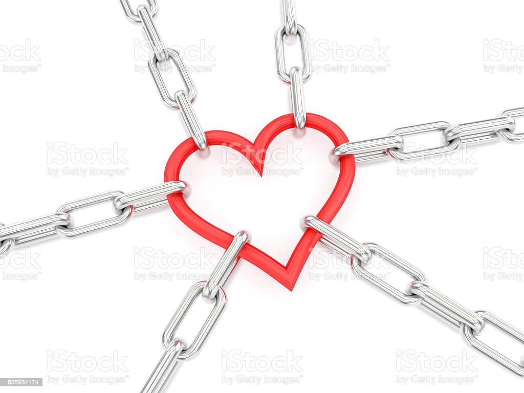 Chain with heart as a central link vector art illustration