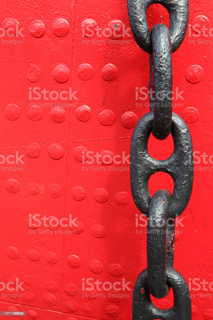 Chain with red background stock photo