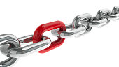 istock Chain with red link 529415724