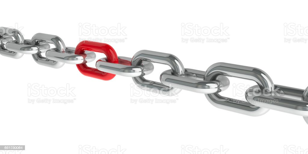 Chain with red link #2 stock photo