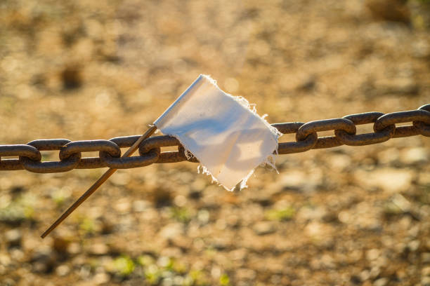 Chain with white flag stock photo
