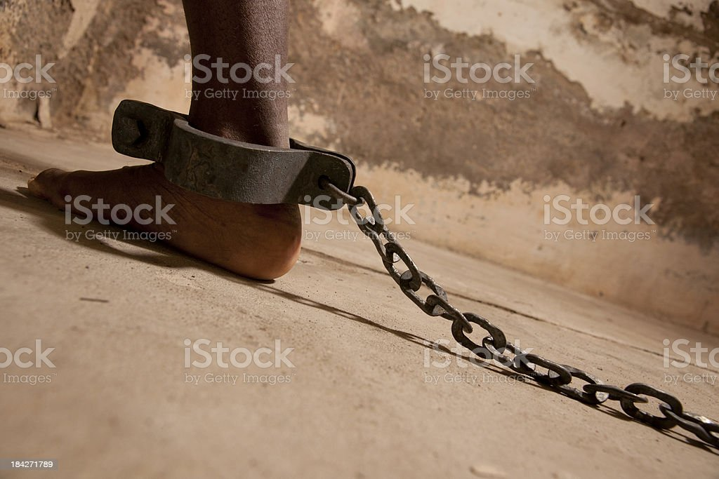 chained at the ankle stock photo