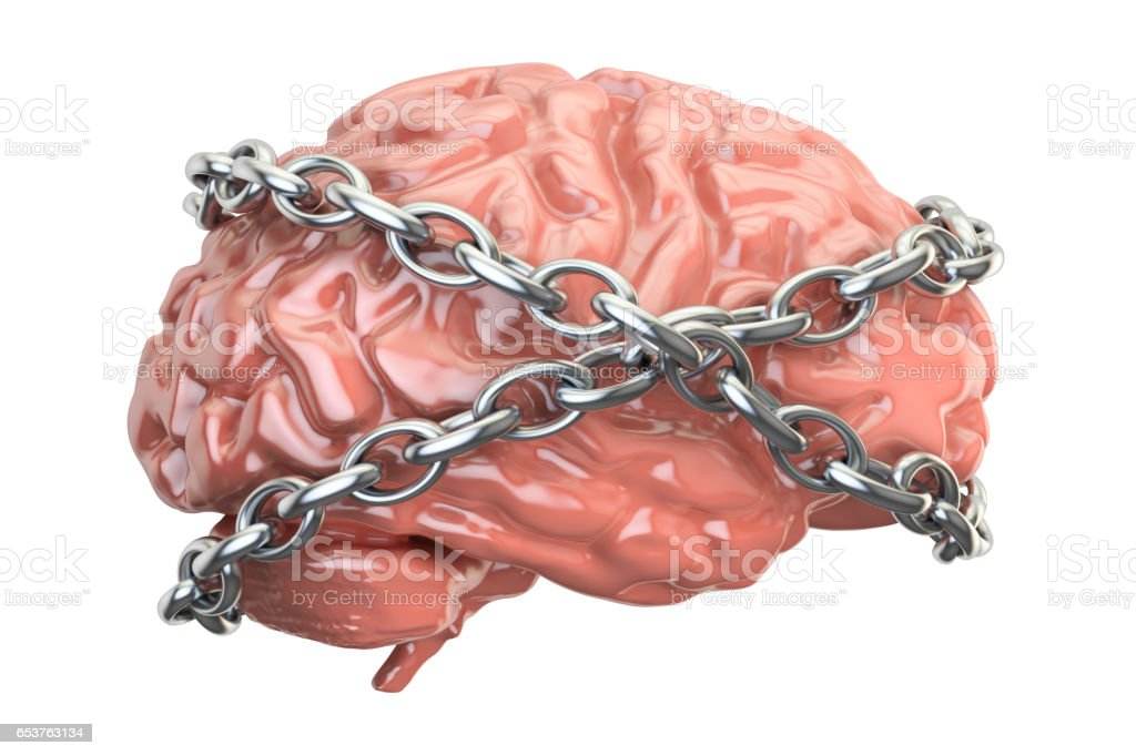 Chained brain, 3D rendering isolated on white background stock photo