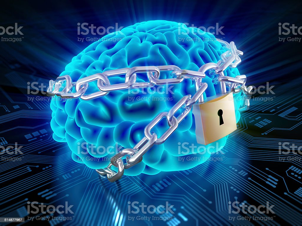 Chained brain with lock on circuit board stock photo