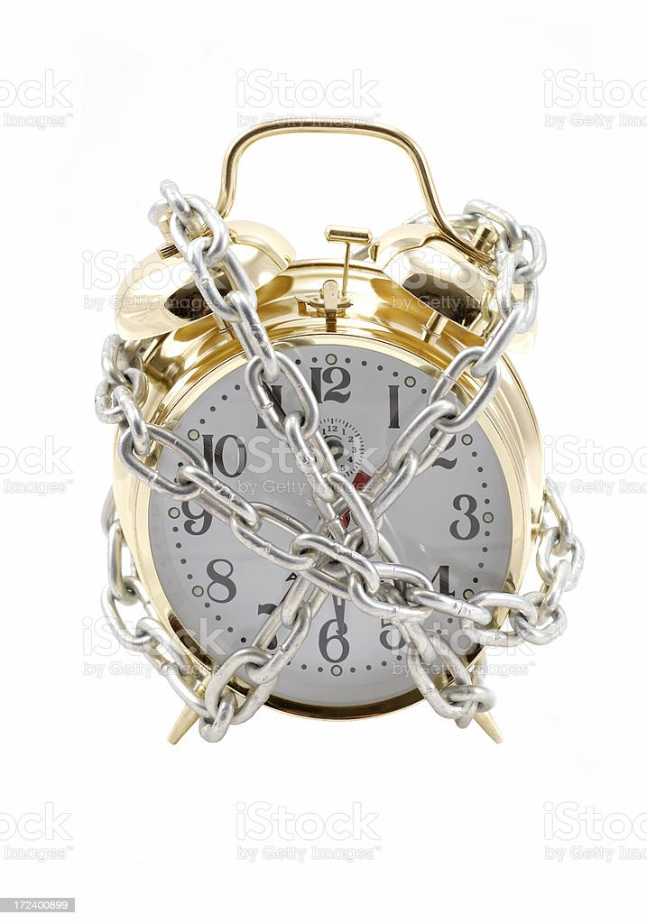 Chained Clock royalty-free stock photo