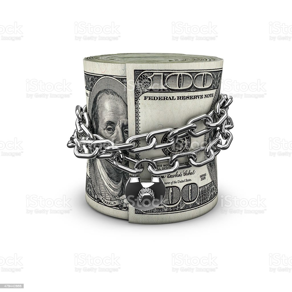 Chained money roll dollars stock photo
