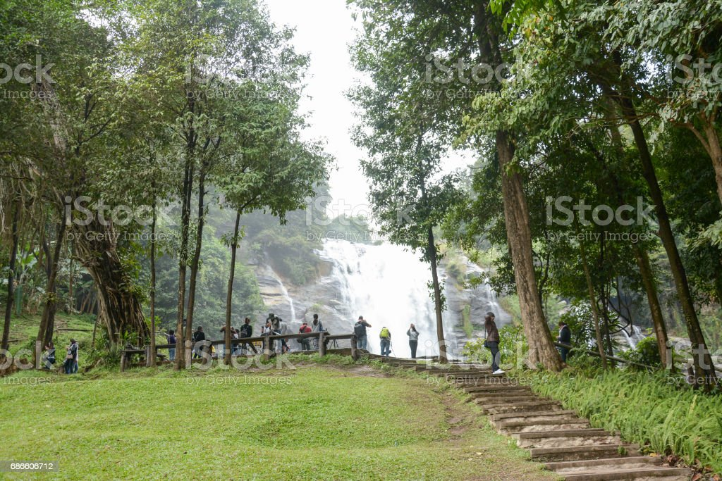 Chaing Mai, Thailand-December 18, 2016 : Wachirathan waterfal in Doi Inthanon, Thailand royalty-free stock photo